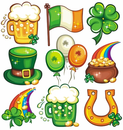 st  patricks: St. Patricks day icons Illustration