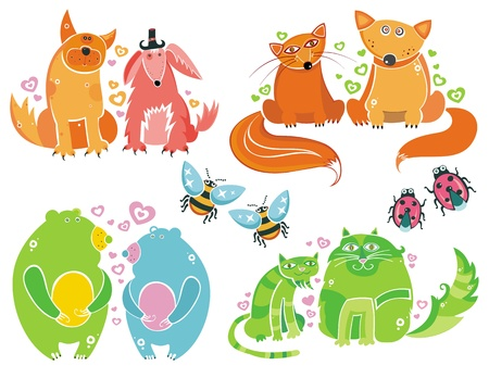 Valentine animals set series  Vector