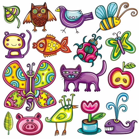Flora and fauna theme  Cartoon vector set of colorful icons of animals, birds and plants  Doodle collection contains  leafs, owl, pigeon, bumblebee, monkey, goldfish, ladybug, butterfly, kitten, apple  Vector