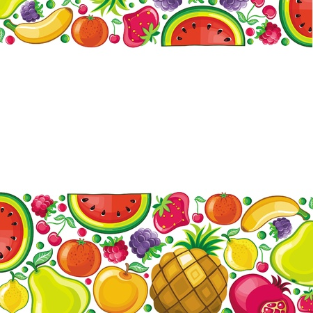 Different types of delicious fruits combined in frame  With space for your text  Vector