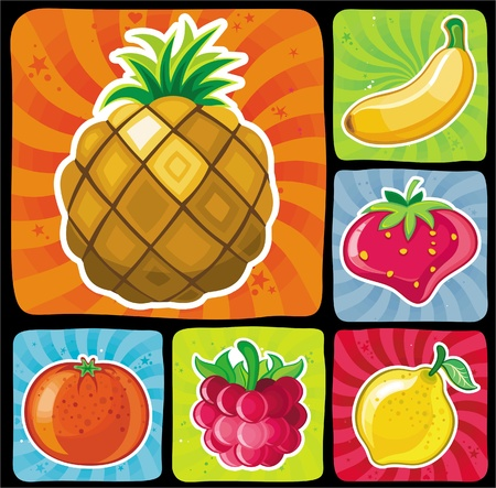 Colorful fruity icons set_1  Vector