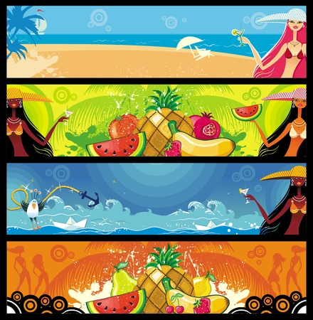 tropical frame: Vector vacation banners set  Illustration