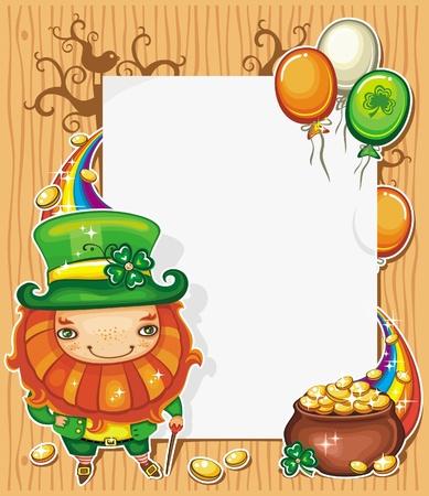 st patrick s day: Festa di San Patrizio s composizione Day con simboli irlandesi vacanze Leprechaun, pentola d'oro, monete d'oro, arcobaleno, irlandesi baloons colore di bandiera che volano intorno message board bianco con copyspace