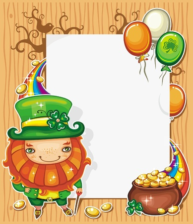 St Patrick s Day celebration composition featuring Irish holidays symbols  Leprechaun, pot of gold, golden coins, rainbow, Irish flag color baloons flying around  White message board with copyspace  Vector