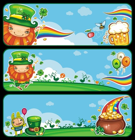 clover banners: St  Patrick s Day banners with copy space  Illustration