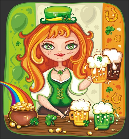 leprechaun hat: Cute girl serving Saint Patrick s Day beer - vector banner with space for your text  Illustration
