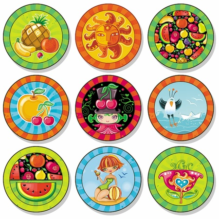 watermelon woman: Set of summer vacation drink coasters  Illustration