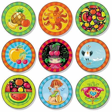 brand tag: Set of summer vacation drink coasters  Illustration