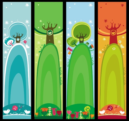 Colorful set of seasonal, natural banners, with space for your text  Vector