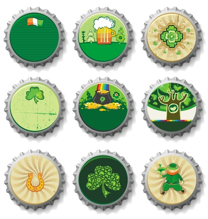 patrick s: St  Patrick s Day bottle caps- vector buttons   Illustration