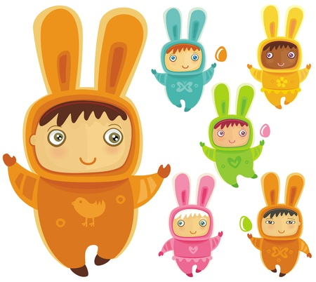A cute little babies dressed as an Easter Bunnies with Easter eggs Stock Vector - 12890440
