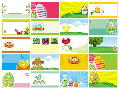 20 spring Easter cards with Easter eggs and flowers  Can be used as banners, seasonal greeting cards or invitation to holiday celebration, contains space for your text  Vector