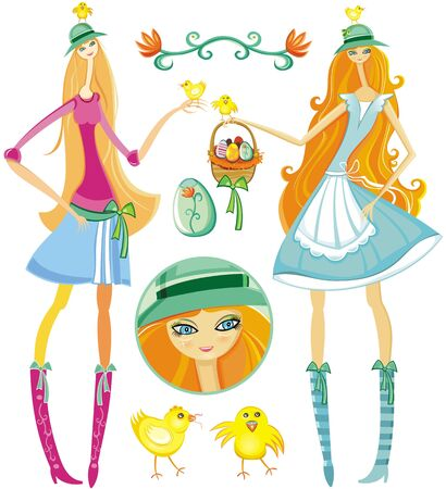 bonnet illustration: Girls with Easter Eggs and little chicken