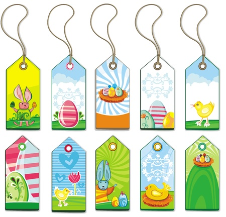passover: Easter tags with copy sapce  Illustration