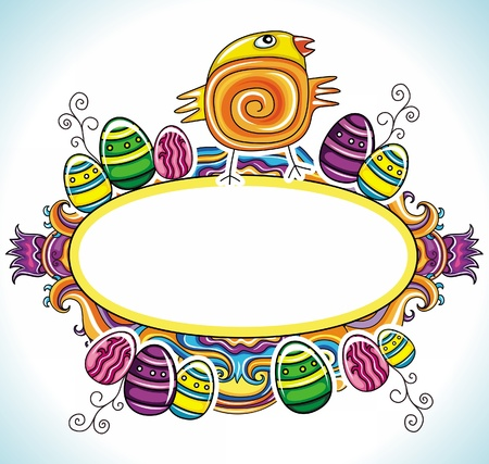 Holiday Easter Frame with white space for your text Cute funny Easter chick, colorful painted easter eggs  Floral elements like flowers and plants to celebrate Spring  Vector