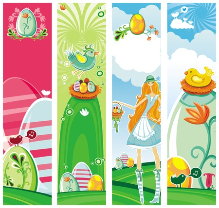 Cute Vertical Easter banners   Vector
