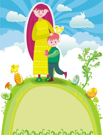 Easter greeting card  Pretty young mother with a cute son standing at the top of the hill, at spring sunny Easter day  Vector