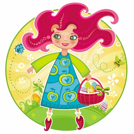 Cute girl with basket full of Easter eggs