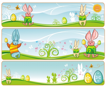 Easter Banners with space for your text  Illustration