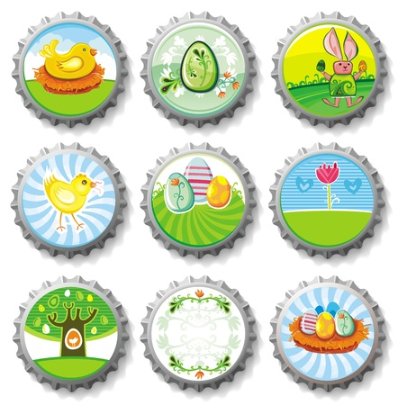 bottle cap: Easter bottle caps- vector buttons