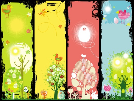 vertical garden: Vertical Easter banners with copy-space