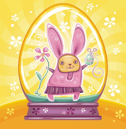 Cute Easter Bunny inside of snow-dome or crystal ball  Vector