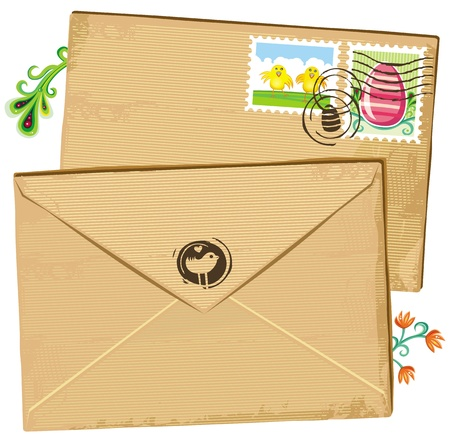 passover and easter chick: Easter envelope and stamps
