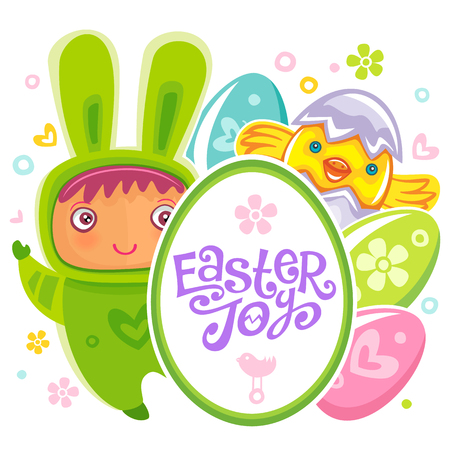 girl: Colorful Easter Greeting Card child bunny and frame with Easter Joy text lettering. Rabbit baby, eggs and chicken. Use it as banner, invitation to egg hunting. Vector isolated on white background