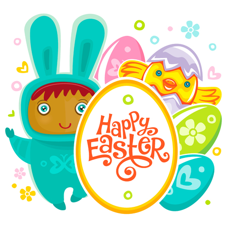 easter background: Colorful Easter Greeting Card child bunny and frame. Rabbit baby, eggs and chicken. Use it as banner, invitation to egg hunting. Vector isolated on white background Illustration