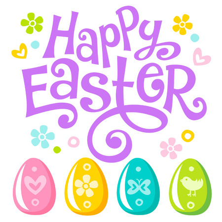 Happy Easter Lettering celebration text for design. Colorful Easter eggs with ornaments. Can be used in greeting card, banner and invitation to egg hunting. Vector set of symbols isolated on white