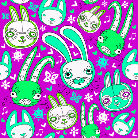 wallpaper doodle: Easter colorful doodle seamless pattern with child drawn cute rabbits and floral design elements. These funny bunnies can be used as wrapping paper or holiday wallpaper. Vector illustration Illustration