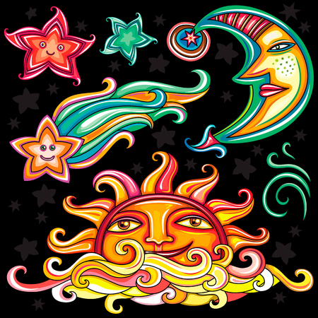 wiccan: Vector set of Celestial symbols: sun, moon, star and comet, with human faces, cute cloud and wind swirl. Design elements isolated on black background.