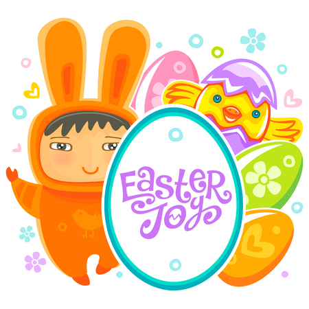 traditional pattern: Colorful Easter Greeting Card with child bunny and frame with Easter joy text lettering. Rabbit baby, eggs and chicken. Use it as banner, invitation to egg hunting. Vector isolated on white background
