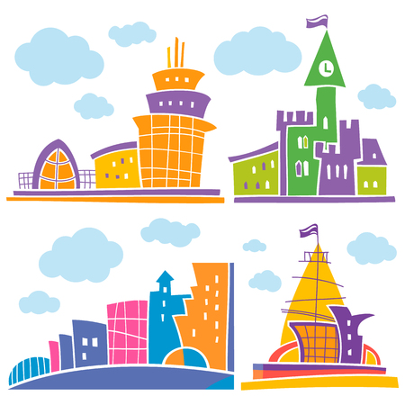 Set of different fantastic houses. Use it for Exterior construction designs including city buildings. Beautiful castle, modern cottages and colorful cityscape. Isolated on a white background. Illustration