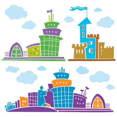 modern house: Set of different fantastic houses. Use it for Exterior construction designs including city buildings. Beautiful castle, modern cottages and colorful cityscape. Isolated on a white background. Illustration