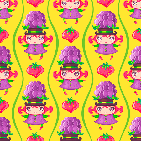 children background: Seamless colorful pattern with cute little girl dressed fruity costume, wearing Blackberry hat and strawberry. Endless texture isolated on color background. Can be used as wallpaper or wrapping paper