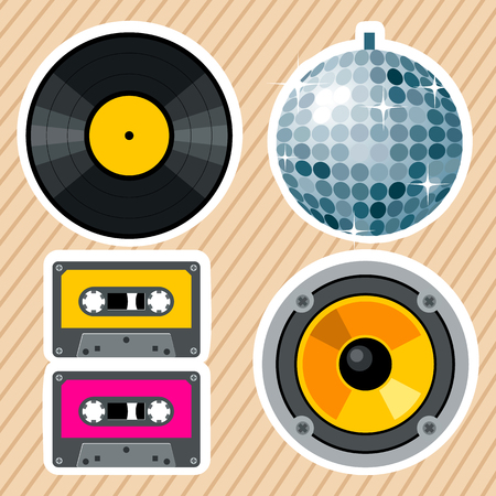 music: Retro styled set of vintage musical party equipment. Old fashioned vinyl record, Shiny disco ball, pair of old school cassettes and Loudspeaker icon. Use it as party icons or night club design elements