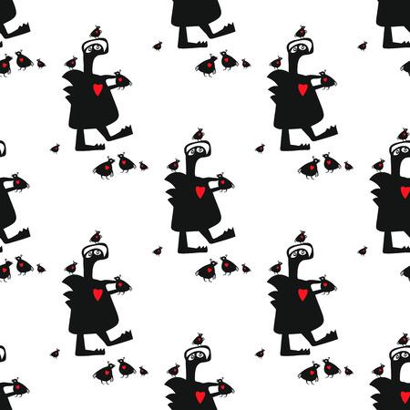 Naadloze vector patroon met schattig grappig monster en zijn vrienden kleine vogels. Deze eenvoudige eindeloze achtergrond kan gebruikt worden als verpakkingspapier of websitebehang voor kinderen.