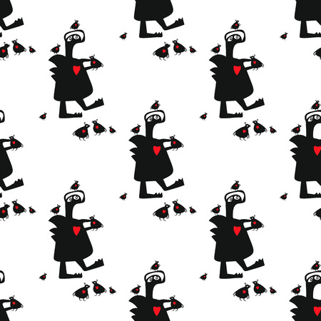 Seamless vector pattern with cute funny monster and his friends little birds. This simple endless background, can be used, as wrapping paper or website wallpaper for children.