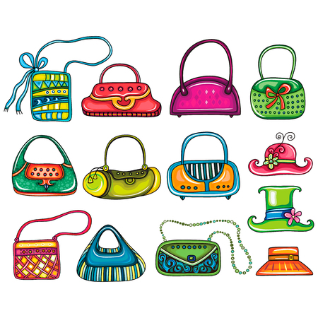 Vector Set of beautifully designed colorful woman purses, bags and hats for stylish girls. Cute different shapes, prints and styles. Cartoon Trendy fashion design elements isolated on white background Ilustração