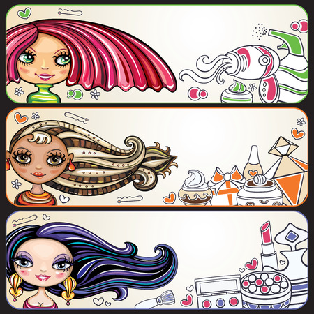 Set of colorful decorative horizontal banners with attractive fashion young girls, trendy hairstyles and makeup.
