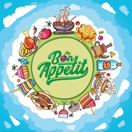 cupcake illustration: Vector cartoon frame: Food and drink planet with delicious meal icons.