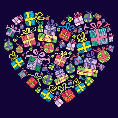 かわいい手描き、装飾的なプレゼントのギフト ボックス、ハートの形に組み合わせます。 テンプレート グリーティング カード、ベクトル図です。
