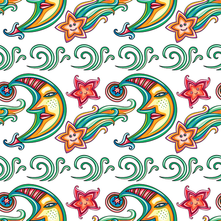star: Seamless pattern with cute moon with human face and stars. Illustration