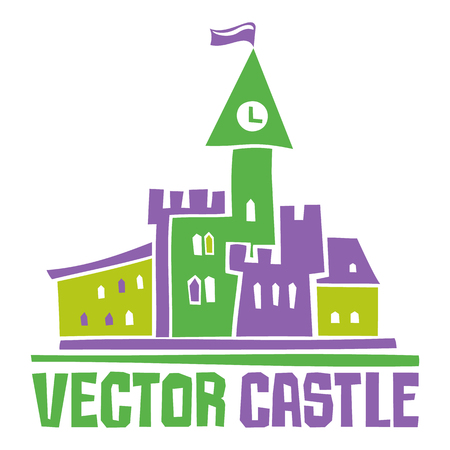Simple fantastic Tower, Vector castle. Use it for Exterior construction design: city buildings, tourist signs.
