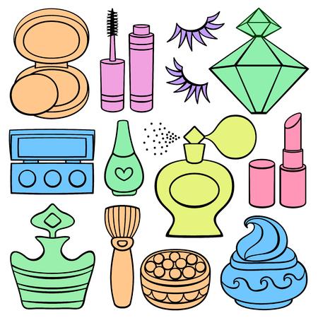 Flat Icon set: make up, beauty and fashion supplies.
