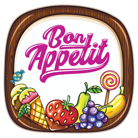 specials: Vector food frame. Kitchen wooden chopping board. Bon appetit lettering. Juicy fresh fruits and berries, ice cream cone. Cook template: for cafe banners, food markets, courts, specials signs or cards Illustration