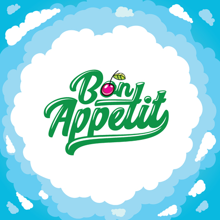 Vector cartoon frame: Bon appetit lettering, cartoon cherry. Place for your text. Clods and blue sky. Illustration