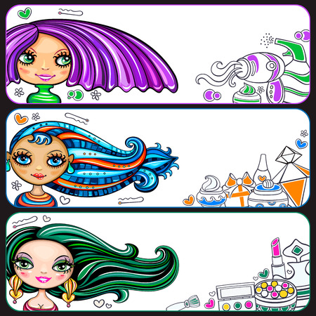 Set of colorful pretty, horizontal banners with attractive fashion young girls, trendy hairstyles and makeup. Beauty industry accessories: make-up, face and hair care products. Space for your text
