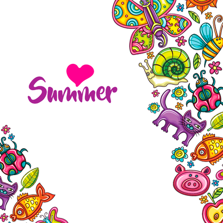 Flora and fauna template. Cartoon vector frame, place for text, colorful animals, birds, bugs and flowers. Children party invitation, summer banner, kids greeting card. Doodle colorful icons isolated.